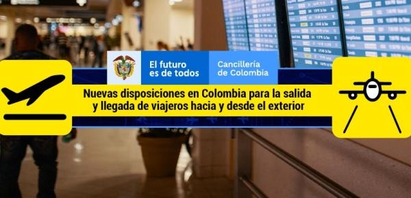 Nuevas disposiciones en Colombia para la salida y llegada de viajeros hacia y desde el exterior