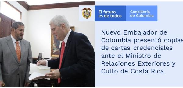 Nuevo Embajador de Colombia presentó copias de cartas credenciales ante el Ministro de Relaciones Exteriores y Culto