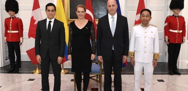El nuevo Embajador de Colombia en Canadá, Federico Hoyos Salazar, presentó cartas credenciales ante la Gobernadora General, Julie Payette