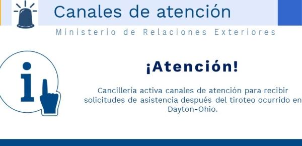 Cancillería activa canales de atención para recibir solicitudes de asistencia después del tiroteo ocurrido en Dayton-Ohio