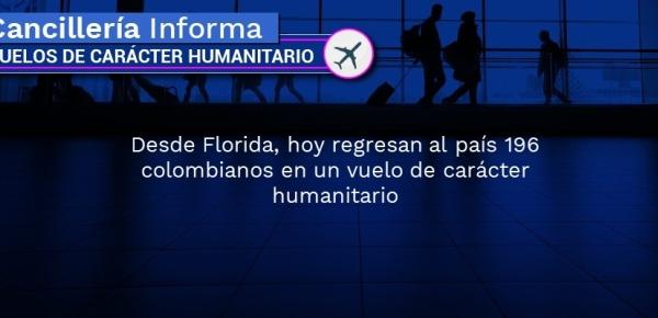 Desde La Florida regresan al país 196 colombianos en un vuelo de carácter humanitario