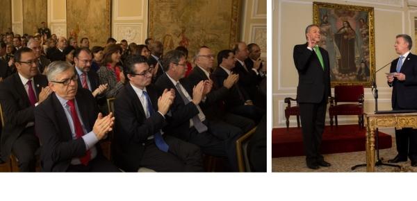 Canciller María Ángela Holguín, en compañía del Secretario de Relaciones Exteriores de México, asistió a la posesión del Vicepresidente general (r) Óscar Naranjo
