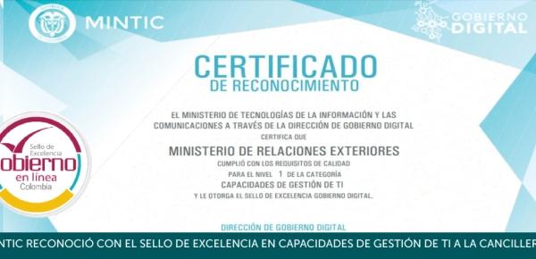 MinTIC reconoció con el Sello de Excelencia en Capacidades de Gestión de TI a la Cancillería
