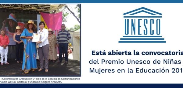 Está abierta la convocatoria del Premio Unesco de Niñas y Mujeres en la Educación 2019