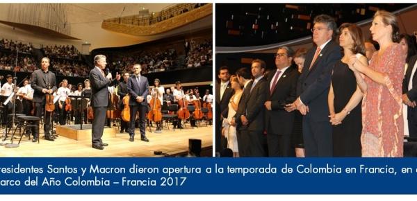 Presidentes Santos y Macron dieron apertura a la temporada de Colombia en Francia, en el marco del Año Colombia – Francia