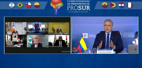 El Presidente Iván Duque lideró la V Reunión Extraordinaria sobre Vacunación contra el COVID-19 en los países de PROSUR