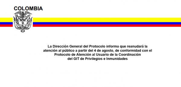 Protocolo de atención a usuarios que hacen parte del cuerpo diplomático acreditado en Colombia