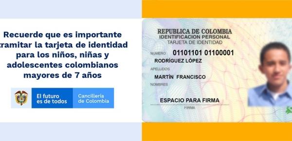 Recuerde que es importante tramitar la tarjeta de identidad para los niños, niñas y adolescentes colombianos mayores de siete años