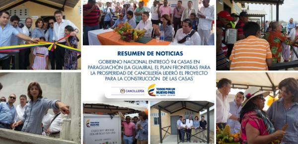 Cancillería lideró el proyecto para la construcción   de las casas de La Guajira
