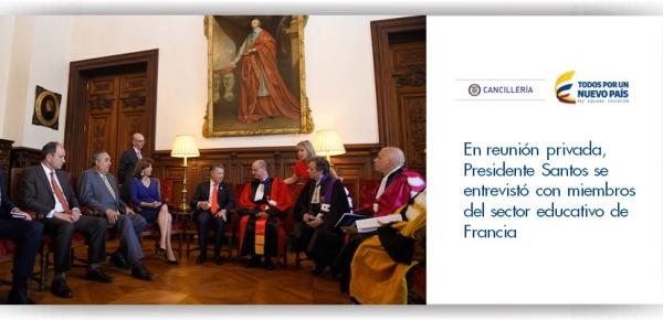 En reunión privada, el Presidente Santos se entrevistó con miembros del sector educativo de Francia