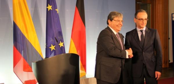 Ministros de Relaciones Exteriores de Colombia, Carlos Holmes Trujillo, y de Alemania, Heiko Maas, dialogaron sobres temas de la agenda bilateral