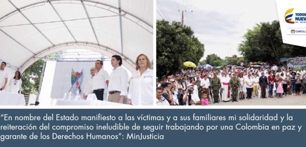 """""""En nombre del Estado manifiesto a las víctimas y a sus familiares mi solidaridad y la reiteración del compromiso ineludible de seguir trabajando por una Colombia en paz y garante de los Derechos Humanos"""": MinJusticia"""
