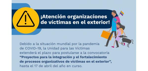 Se extendió hasta el 17 de abril el plazo para postularse a la convocatoria para presentar propuestas a iniciativas de organizaciones de víctimas