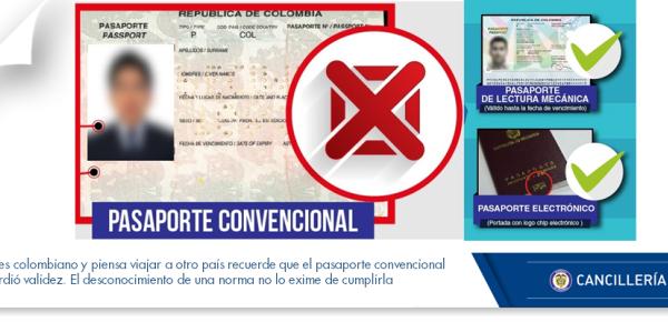 Si es colombiano y piensa viajar a otro país recuerde que pasaporte convencional perdió validez. El desconocimiento de una norma no lo exime de cumplirla