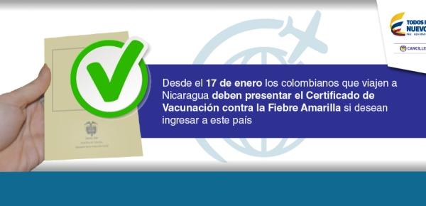 Desde el 17 de enero los colombianos que viajen a Nicaragua deben presentar el Certificado de Vacunación contra la Fiebre Amarilla