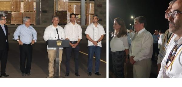 Los mandatarios de Colombia, Chile, Paraguay y Venezuela, y el Secretario General de la OEA ofrecieron una declaración desde el centro de acopio de ayuda humanitaria en la frontera