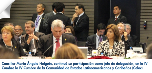 Canciller María Ángela Holguín continuó su participación como jefe de delegación, en la IV Cumbre de la Comunidad de Estados Latinoamericanos y Caribeños (Celac)