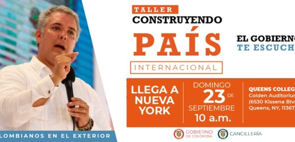 Mañana 23 de septiembre se realizará el primer Taller Construyendo País Internacional: colombianos en el exterior