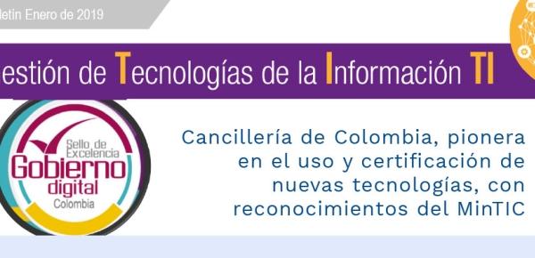 Cancillería de Colombia, pionera en el uso y certificación de nuevas tecnologías, con reconocimientos del MinTIC