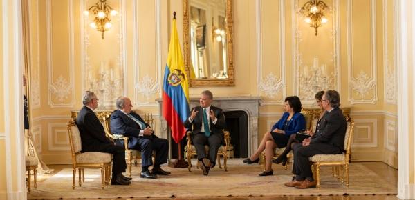 """""""Me complace mucho haber recibido las cartas credenciales del Embajador Calderón Berti, quien ha sido designado por el Presidente Guaidó y la Asamblea Nacional"""": Presidente Iván Duque"""