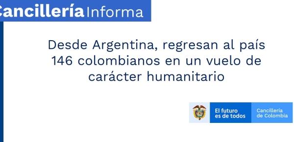 Desde Argentina, regresan al país 146 colombianos en un vuelo de carácter humanitario