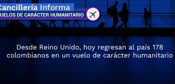 Desde Reino Unido, hoy regresan al país 178 colombianos en un vuelo de carácter humanitario