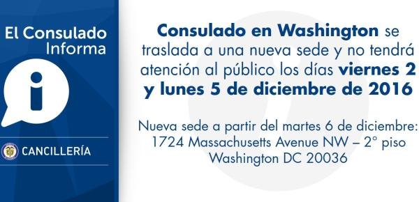 Consulado en Washington no tendrá atención al público los días viernes 2 y lunes 5 de diciembre de 2016