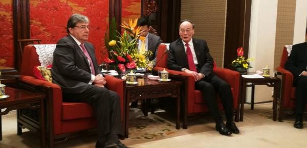 Canciller de Colombia y Vicepresidente de China dialogaron sobre oportunidades en materia de comercio, inversión, agricultura, educación y cultura